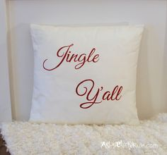 Jingle Y'all - Thrifty Pillow Makeover w/Chalk Paint® decorative paint by Annie Sloan | By Artsy Chicks Rule