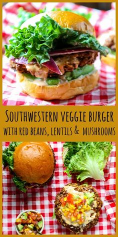 Southwestern Veggie Burger This delicious burger is made with red beans, lentils, & mushrooms, seasoned with chipotle, cumin and chili powder. Topped with fresh salsa and chipotle mayo. So good you won't miss the meat! Lentil Veggie Burger, Meatless Burgers, Veggie Burgers, Grilled Vegetable Recipes, Vegetarian Recipes, Healthy Recipes, Vegetarian Lifestyle, Healthy Food, Yummy Food