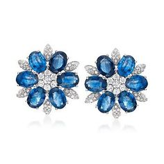 Ross-Simons - 11.00 ct. t.w. Sapphire and .86 ct. t.w. Diamond Floral Earrings in 18kt White Gold - #837152