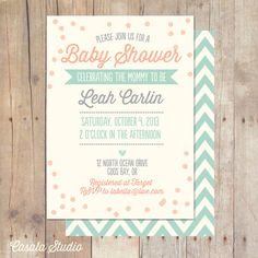 Whimsical Vintage Mint Baby Shower Invitation Bridal Shower Printable or Professionally printed Cards