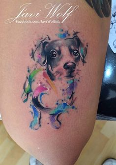 Watercolor + Sketch Dog Tattoo. Tattooed by @javiwolfink www.javiwolf.com