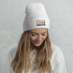 Peace Love Purpose, Cool Statement - Cuffed Beanie - White