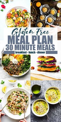 Free Meal Plan with 30 Minute Meals (or Less! Breakfast Lunch and dinner minute meals meal plan. Breakfast Lunch and dinner recipes! Gluten Free Meal Plan, Free Meal Plans, Gluten Free Recipes For Dinner, Healthy Gluten Free Recipes, Healthy Dinner Recipes, Yummy Recipes, Gluten Free Lunch Ideas, Gluten Free Lunches, Celiac Recipes