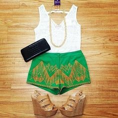 Green shorts, Brown wedges, white blouse, black purse, this outfit is ready to go, spring or summer