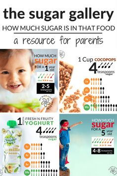 Helping Parents Make Healthier food choices. How much sugar is in common foods and how  this compares to the World Health Guidelines