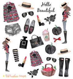 FALL FASHIONISTA Clipart Stickers for your Planner, Scrapbook or Stationery by…