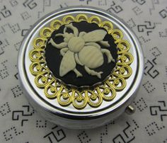 Pill Case Box Container Trinket Bumble Box Bee Comes with Pouch