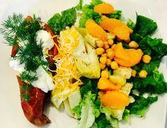 Lunch: salad, garbanzo beans, mandarin oranges, artichokes, fresh romaine, and herbs from my garden + a sweet potato, Greek Yogurt, and hummus. SO delicious! Get tasty ideas here: