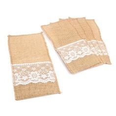 We-buys Lace Burlap Cutlery Pouch Knife Fork Spoon Holders 5 pcs