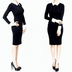 The classic styling of this fabulous little black hourglass dress will take you from day to evening in casual elegance. Featuring contrasting white cuffs and collar, demure knee-length and long sleeves. Soft, unlined fabric has a dash of stretch and rear Vintage Inspired Fashion, Vintage Fashion, Retro Fashion, Dark Fashion, Vintage Style, Day To Night Dresses, Dresses For Work, Lovely Dresses, Hunter Green Dresses
