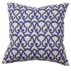 Linen pillow with a trellis motif.     Product: Pillow  Construction Material: Linen cover and feather-down fill