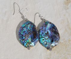 Abalone and Sterling Silver Earrings. Abalone Shell and silver earrings. Abalone earrings. Shell earrings. Abalone and bali silver beads by KarmaKittyJewelry on Etsy