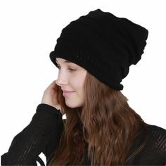 714469b8385 Novelty   More Hunputa Womens Hat Winter Unisex Warm Mix Colors Chunky  Stretch Cable Thick Fleece ...