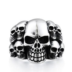 DoreenBeads Punk Skull Ring Men Stainless Steel Jewelry Fashion Vintage Classic Biker Rock Band Mens Skeleton Rings US Size