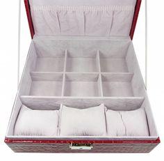 Šperkovnice čtverec velká červená 5500-5 | Bižuterie Kozák