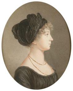 Portrait of Elizabeth Alexeievna (Louise of Baden) for the widow empress Jean Henri Benner Regency Dress, Regency Era, Jane Austen, Mourning Dress, Miniature Portraits, Miniature Paintings, 1800s Fashion, Empire Style, Fashion Plates
