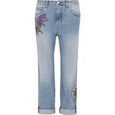 Alexander McQueen Floral-embroidered boyfriend jeans (£1,585) ❤ liked on Polyvore featuring jeans, light wash jeans, floral embroidered jeans, light jeans, button-fly jeans and boyfriend jeans