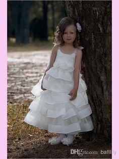 Wholesale Flower Girl Dresses - Buy 2014 Lovely Tulle Wedding Flower Girl Dresses White Amazing Handmade Flowers Ankle-Length Formal Gowns Zipper Jewel Sleeveless A-Line FGD036, $65.9 | DHgate