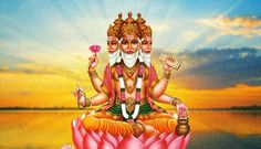"""Born from the Lotus emerging from the navel of Lord Vishnu, Brahma is known as the """"Hindu god of creation."""" Brahma is often represented with four heads, symbolic of his creation of the four Vedas."""