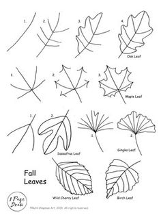 Beautiful Fall Leaves To Coloring Pages - coloringpage Fall Drawings, Doodle Drawings, Doodle Art, Drawing Sketches, Sketching, Leaf Drawing Easy, Fall Leaves Drawing, Bullet Journal Art, Bullet Journal Ideas Pages
