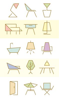 Furniture icon set for Manuela Naranjo Interior Design