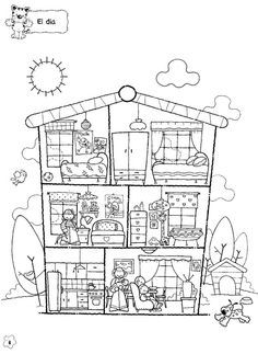 Use there is/ there are to describe the parts of the house