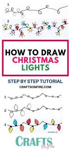 Amazing Christmas lights for your bullet journal or greeting cards with this drawing tutorial! You'll LOVE this easy Christmas drawing! drawings How To Draw Christmas Lights: Easy Step By Step Tutorial Kawaii Drawings, Doodle Drawings, Easy Drawings, Doodle Art, Pencil Drawings, Realistic Drawings, Animal Drawings, Pencil Sketching, Unique Drawings