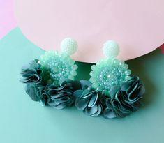 Light Cyan Beaded Flower Tassel Earrings - Lux Store DR