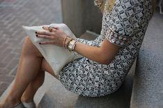 Dress: Tory Burch. Shoes: Joie (also here). Bag: Mark and Graham c/o. Sunglasses: Karen Walker. Lips: NARS 'Lodhi'. Nails: Essie 'Licorice'. Jewelry: Michele Watch, Stella and Dot, YSL Ring, Jcrew, David Yurman.