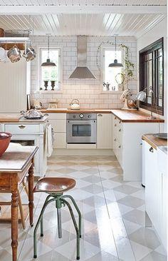 white kitchen wood counter