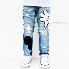 Hey Mickey Jeans. Completely hand custom ripped and distressed denim jeans. Hand painted Mickey ears and hands. Made To Order for Unisex Boy or Girl sizes 3m to 10y. For Baby, Toddler and kids.