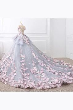 Floral Lace Wedding Dresses Ball Gowns With Flowers – alinanova floral wedding gown - Wedding Gown Floral Wedding Gown, Colored Wedding Gowns, Wedding Dresses With Flowers, Luxury Wedding Dress, Cheap Wedding Dress, Wedding Dress Styles, Bridal Dresses, Gown Wedding, Lace Wedding