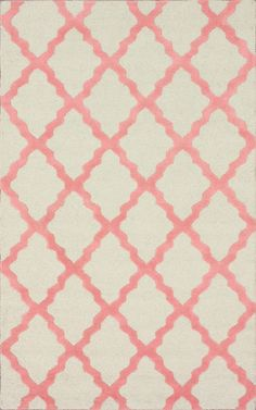 Meknes Trellis 100% Wool Hand-Hooked Area Rug in Bubble Gum design by NuLoom 3x5 rug