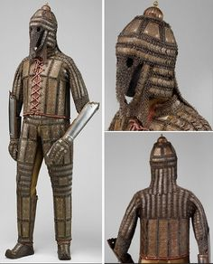 Indian (sind) armor late 18th–early 19th century. Steel, brass. Helmet, shirt, trousers, dastana (arm guards), boots. This distinctive armor, constructed of mail and steel plates decorated with embossed brass plaques, is thought to come from Sind, now a province of Southern Pakistan. The region was ruled by Mirs of the Talpur family from 1783 until 1843, when it was taken over by the British. Bequest of George C. Stone, 1935, The Metropolitan Museum of Art, New York.
