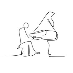 Continuous Drawing Line Playing The Piano Vector and PNG Drawing Piano, Piano Art, The Piano, Music Drawings, Art Drawings Sketches, Easy Drawings, Music Sketch, Piano Photography, Really Cool Drawings