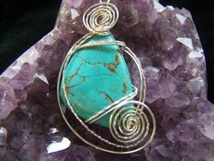 Turquoise Magnesite wire wrapped pendant by NancysDesigns4you on Etsy