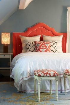 gray walls, white bedding, pops of turquoise or coral