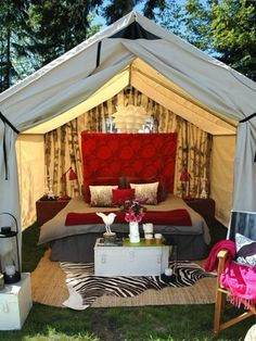 Bedroom in the backyard.. this would be an awesome set up for the night of your wedding!