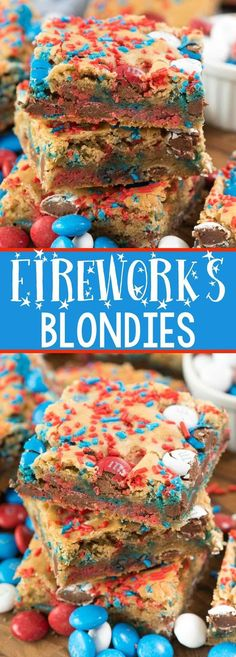 Fireworks Blondies - this EASY blondie recipe is the BEST EVER COOKIE BAR! It's so soft and perfect with any additions, but especially with 4th of July M&Ms.
