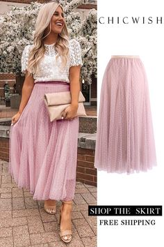Dots Opportunity Tulle Maxi Skirt in Pink Mode Outfits, Skirt Outfits, Look Fashion, Womens Fashion, Fashion Trends, Summer Outfits, Casual Outfits, Looks Chic, Pretty Outfits