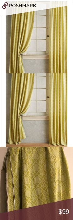 """Anthropologie Quadrille Curtain Panels (2) Set of two Anthropologie chartreuse monochrome tone patterned curtain panels (84""""x50""""). When the light comes through them, they have a very beautiful glow. Great pop of color in a neutral room. Smoke-free, pet-free home. No odor, and they will be professionally cleaned anyway prior to packaging for shipping (to make sure they're very freshly cleaned for buyer). So please allow 3 days before shipping. Thanks!! Anthropologie Other"""