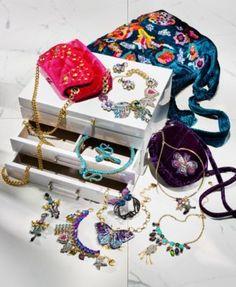 Betsey Johnson Multi-Tone Multicolor Crystal & Imitation Pearl Large Charm Statement Necklace - Multi