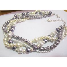 Twisted Pearl Necklace, Multi Strand Pearl Necklace Pearl Statement... (€30) ❤ liked on Polyvore featuring jewelry, necklaces, pearl statement necklace, layered pearl necklace, multi layer necklace, multi-strand pearl necklaces and layered chain necklace