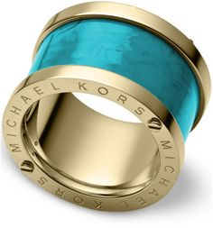 MICHAEL KORS Love this: Goldtone Turquoise Barrel Ring @Lyst