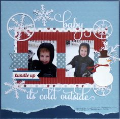 Winter scrapbook layout ~ I like the colors and the neatness of it.  The focus is on the photos.