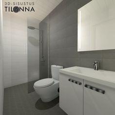 3D- stailaus ja sisustussuunnittelu ennakkomarkkinoinnissa olevaan kohteeseen / moderni harmaa-valkoinen wc/kylpyhuone, vedenkestävä mdf-paneeli katossa, proline antrasite koossa 10x10 lattialla ja 25x38 seinällä, mosaiikkilaatta proline 25x38 suihkun taustalla, valopeili, mattavalkoinen laatta 20x50/ Keski-Suomen Rakennuskeskus, Korteniityntie 15-21/ 3D-sisustus Tilanna, sisustussuunnittelija Jyväskylä Ecology Design, Scandi Style, Wabi Sabi, Habitats, Minimalism, Toilet, Deco, Bathroom, Home