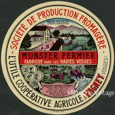 French Cheese Label: Old Vintage Fromage HAUTES VOSAGES