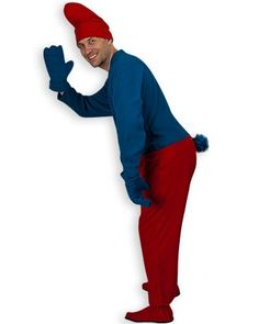 Gnome Adult Footies Costume in Blue and Red - with Accessories