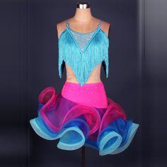Robe de danse latine femmes / filles à vendre Rose / jaune / bleu / vert remise en forme vêtements Costumes de scène gland Cha Cha / Rumba danse robes