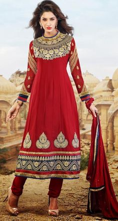 $62.37 Red Faux Georgette Embroidered Anarkali Salwar Suit 26214